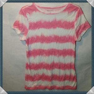 Pink and white striped s/s tee